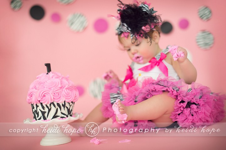 Heidi Hope Photography - pink girl zebra cake smash