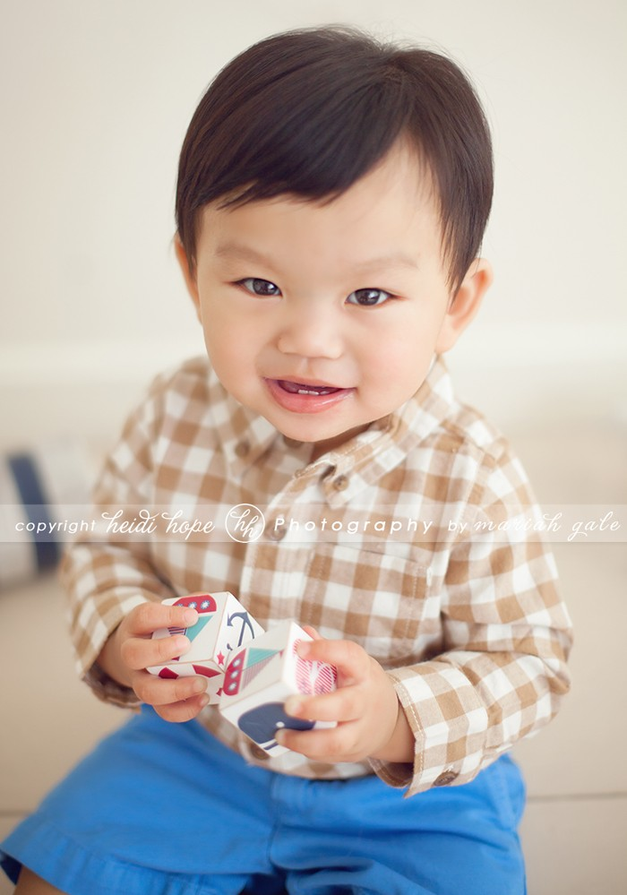 Smiling 9 month old boy in plaid shirt - Boston Photographer Heidi Hope