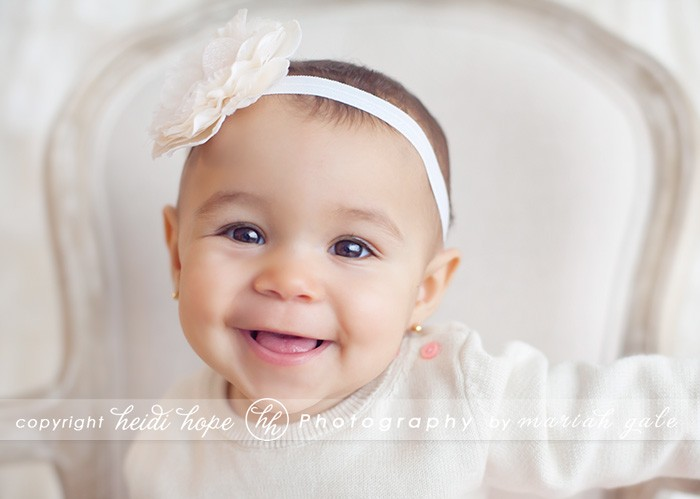 7 month old baby smiling in cream - Heidi Hope Photography
