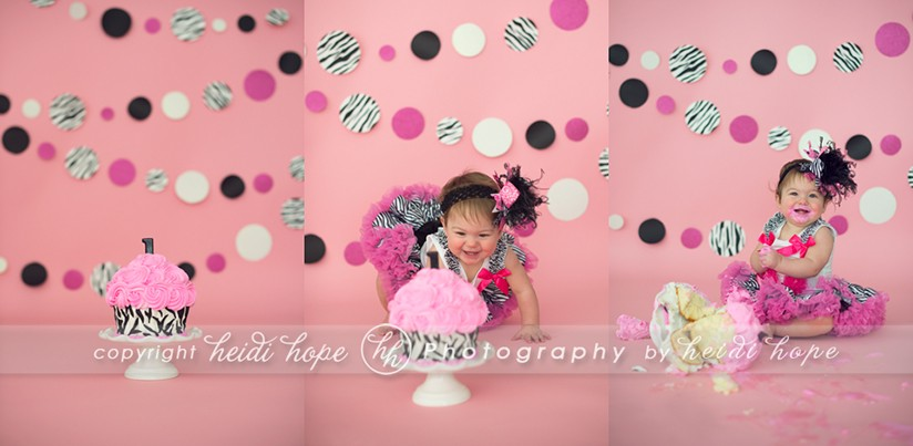 Pink zebra girl cake smash - Heidi Hope Photography