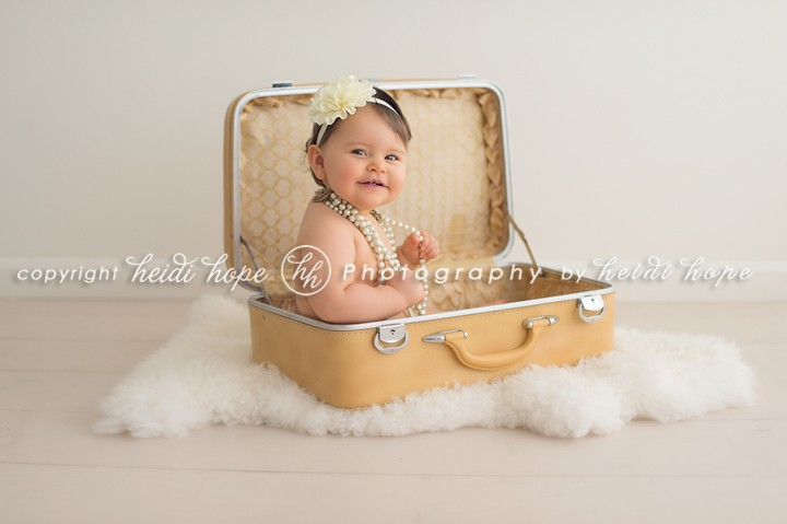 Heidi Hope Photography - One year old girl in suit case