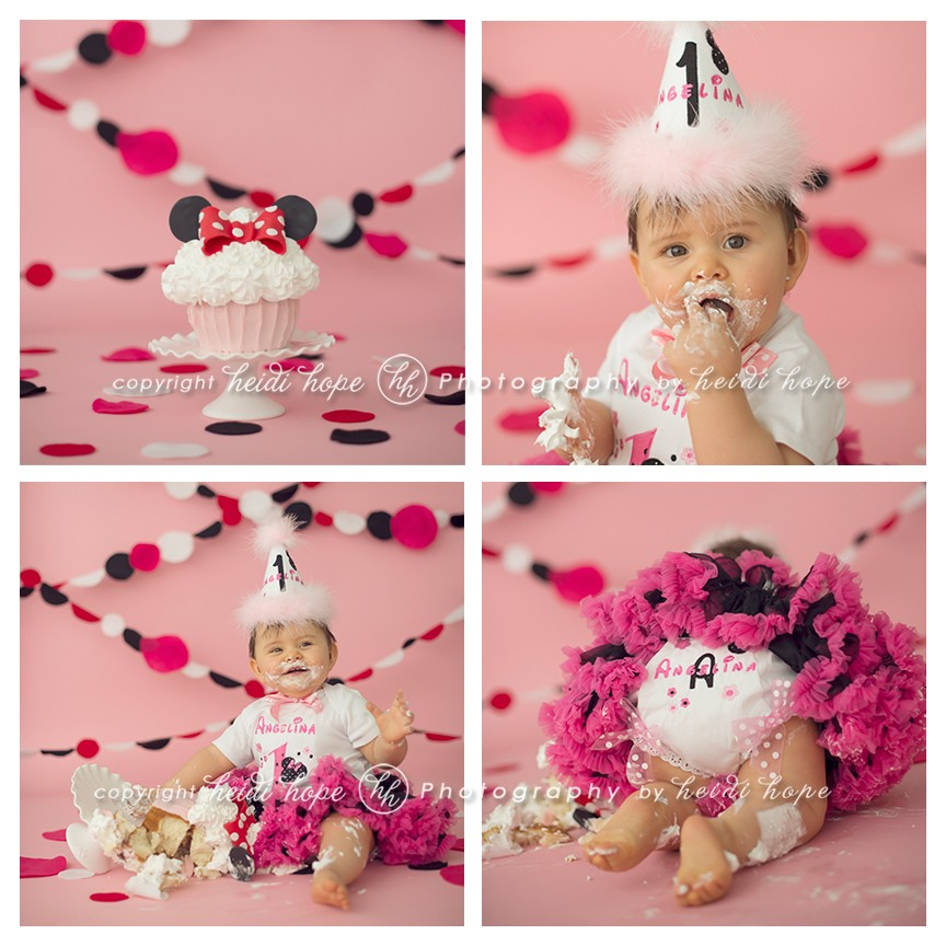 One year girl eating Minnie Mouse pink cake smash - Heidi Hope Photography