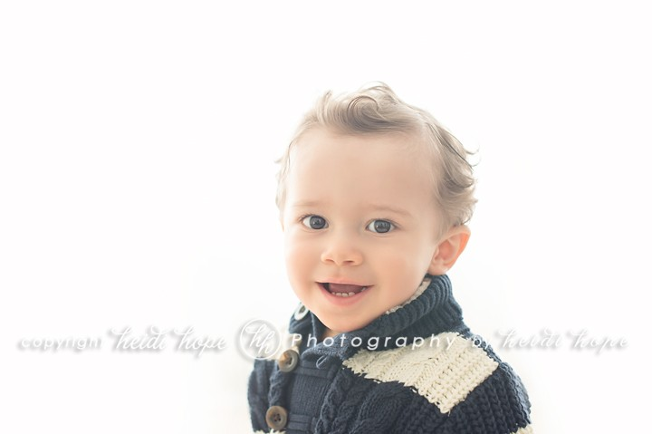 Heidi Hope Photography - One year old boy wearing sweater