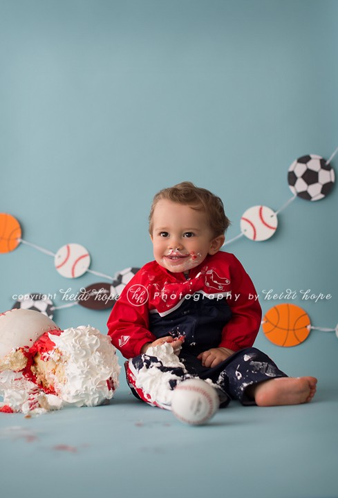 Rhode Island Photographer Heidi Hope - Little Boy Sports Cake Smash