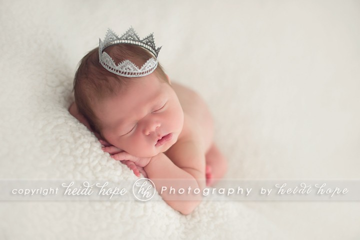 Newborn baby boy sleeping with crown - Boston Photographer Heidi Hope