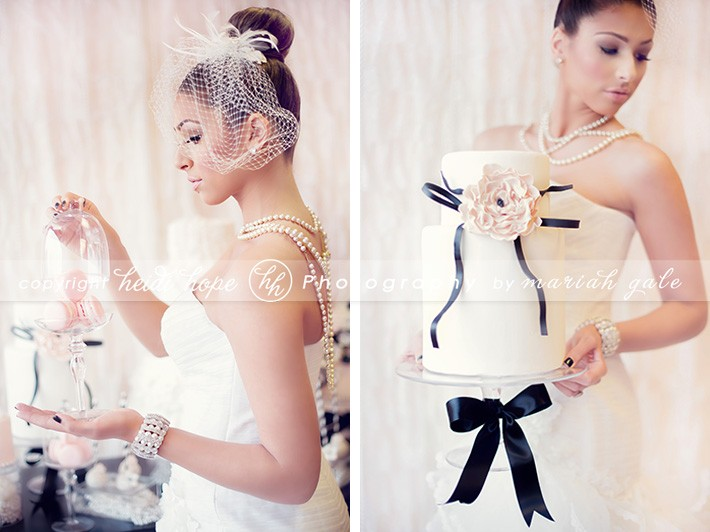 Bride holding black and white cake - Heidi Hope Photography