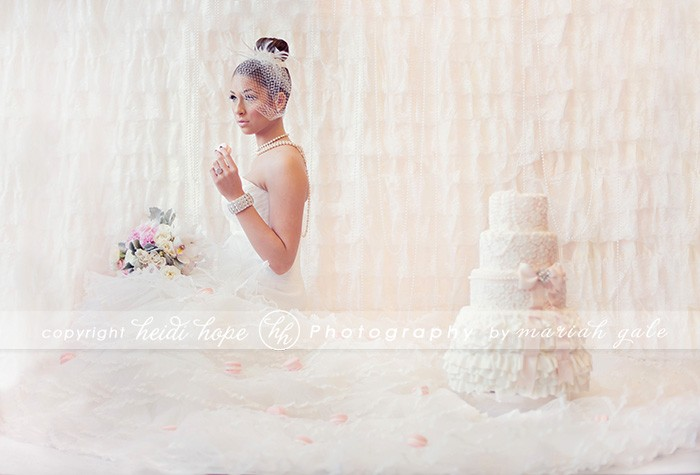 Bride with lace pink cake - Heidi Hope Photography