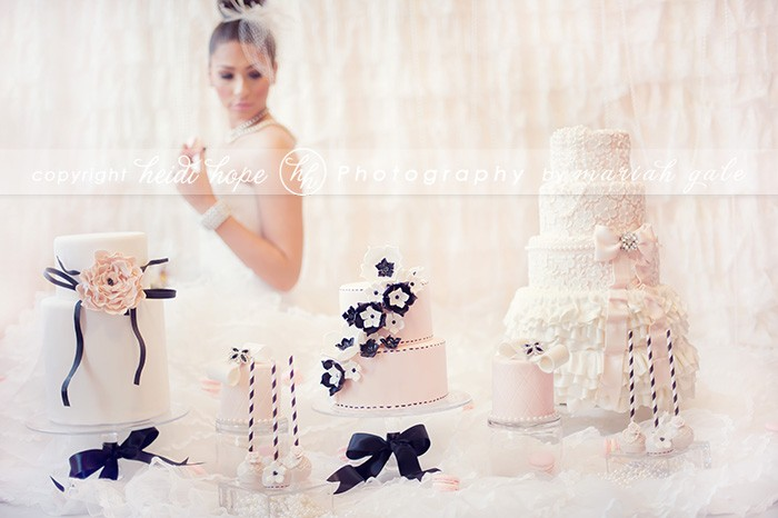 Bride with pink, black and white cakes - Heidi Hope Photography