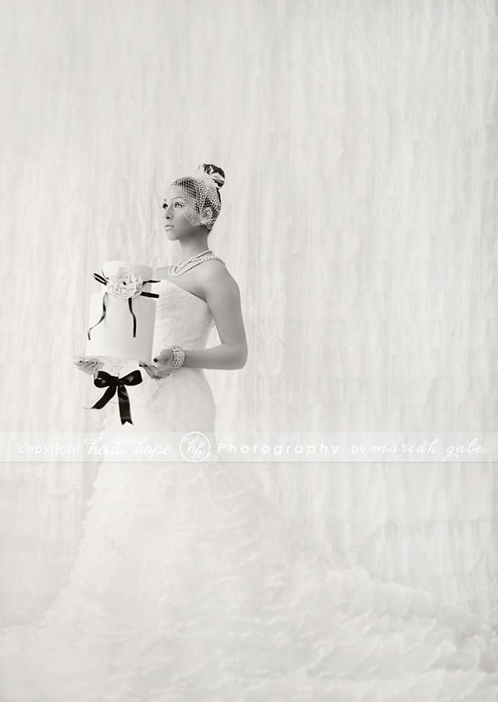 Heidi Hope - Bride holding cake Black and White