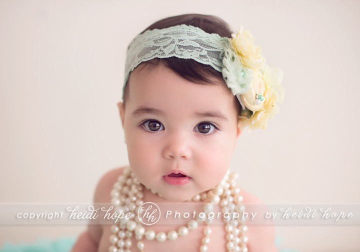 6 month old wearing pearls - Heidi Hope Photography