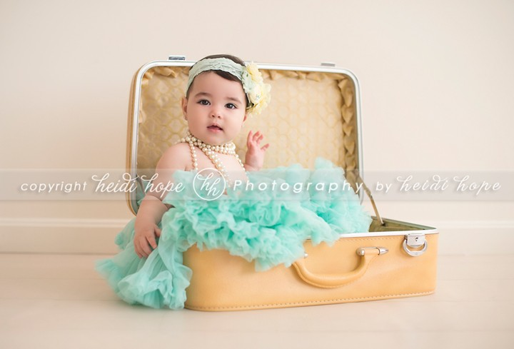 Rhode Island Photographer Heidi Hope - Baby girl in suitcase