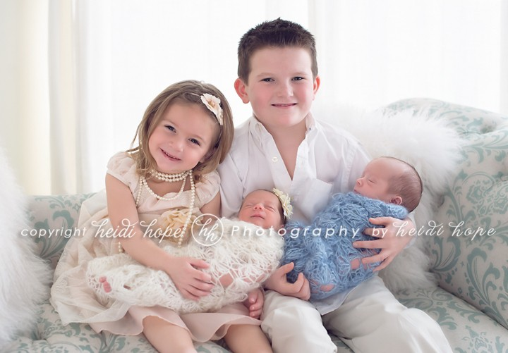 Newborn twins with older siblings