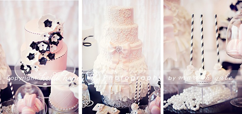Pink, Black, and white cakes and pops - Heidi Hope Photography