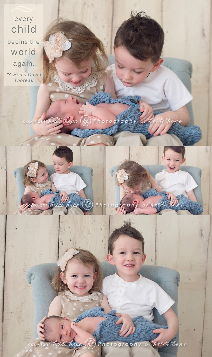 newborn with older siblings by heidi hope photography