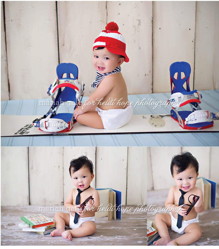 Snowboard and books- 9 month old portraits