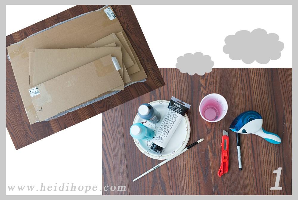 cardboard box airplane tutorial supply list