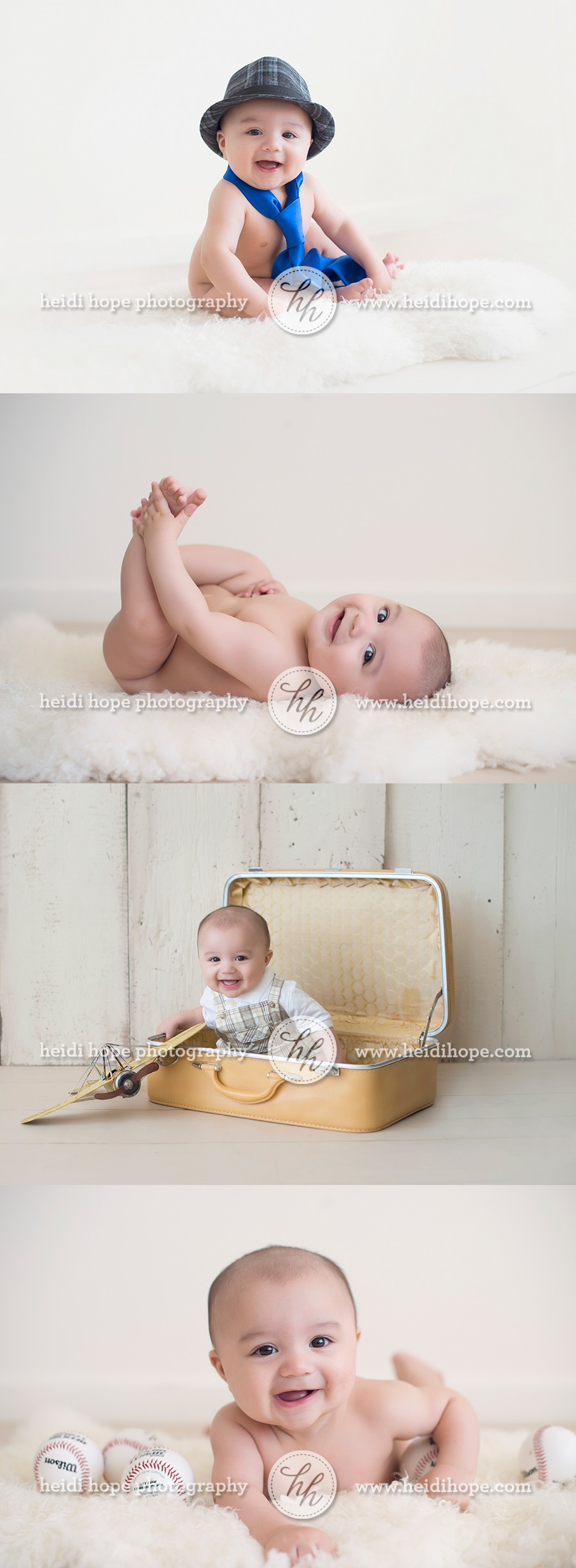 massachusetts baby photographer 6 month old baby portraits with fun props