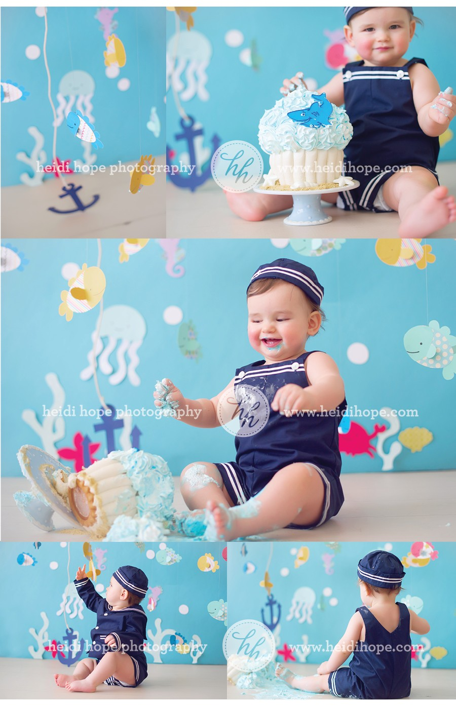 Under The Sea Nautical Birthday Cake Smash by Heidi Hope Photography #cake smash #birthday #sea creatures #ocean party #under the sea party