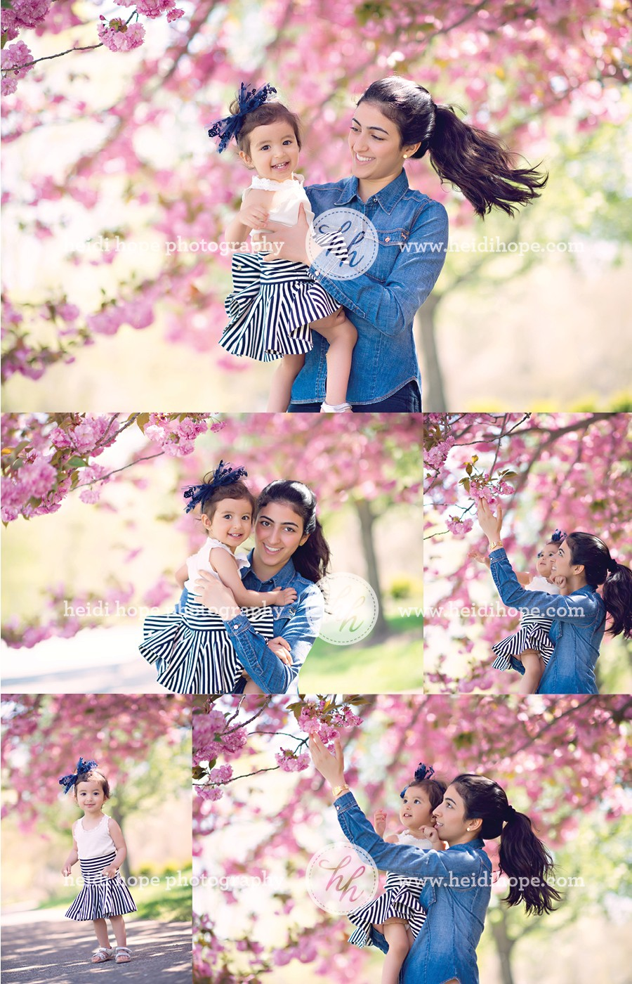 om and daughter in blooming spring flowers by Heidi Hope Photography