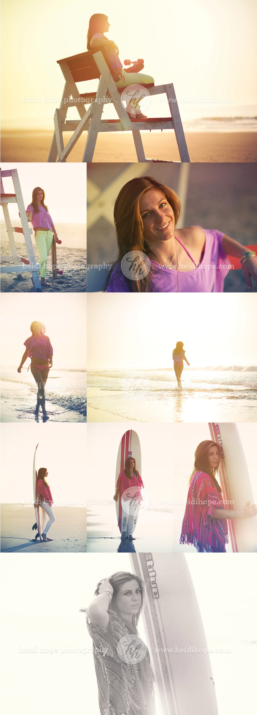 Teen Modeling and Senior Surfing Shoot on the beach by Heidi Hope Photography #surfing #surfer chic #beach style #senior shoot