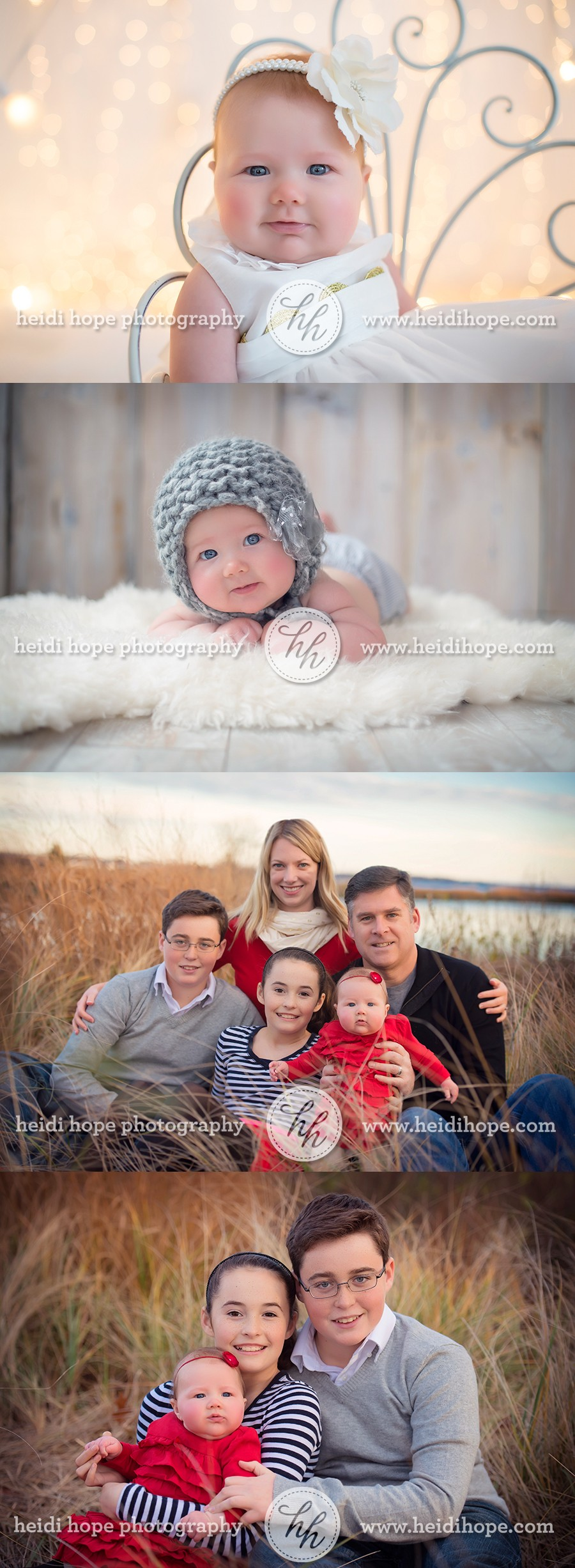 4 Month Old Baby Session And Outdoor Holiday Family Photos