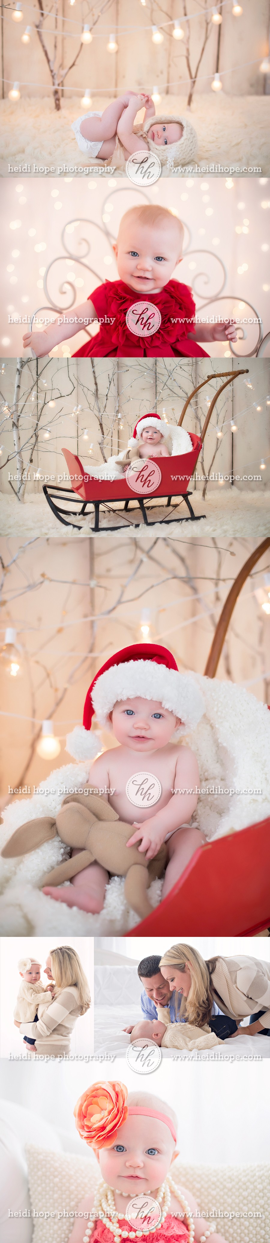 6 month old christmas family portrait session with lights and snow sled