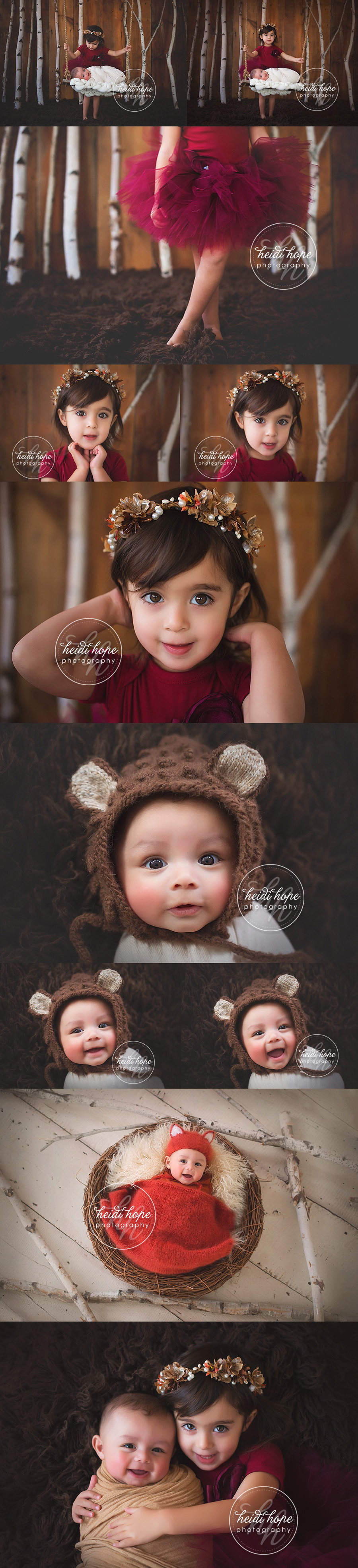 baby-and-sister-winter-studio-session-with-fox-woodland-theme